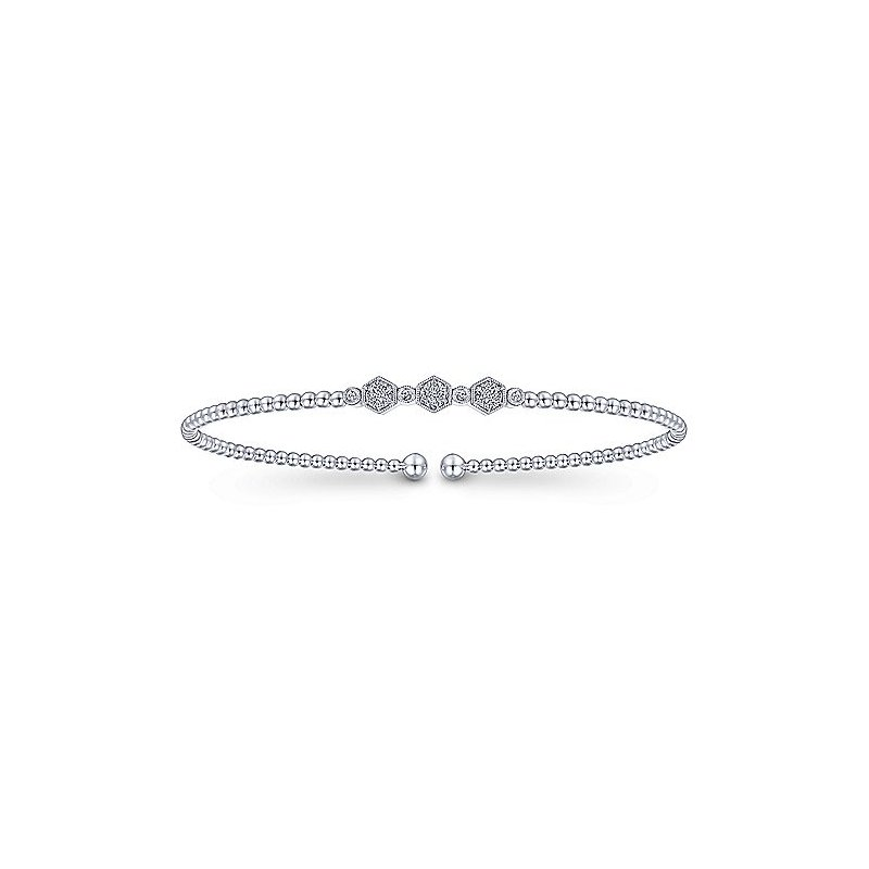 Gabriel & Co. New York Diamond Beaded Flexible Cuff Bangle Bracelet