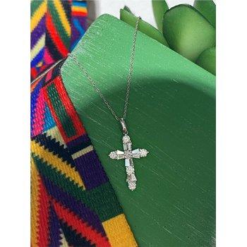 Diamond & Baguette Diamond 3/4 Carats Medium Cross Pendant