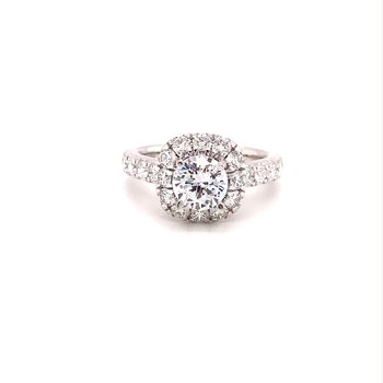 MPJ Exclusive Round Engagement Ring With Diamond Halo