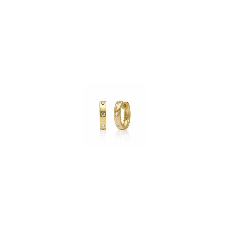 Shy Creation Diamond Huggie Hoop Earrings