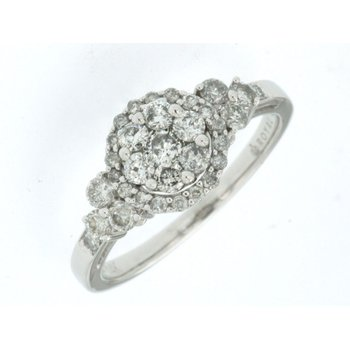 Diamond Cluster Center Engagement Ring