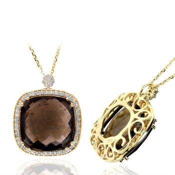 Smoky Topaz & Diamond Halo Pendant Necklace