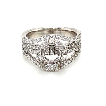 Diamond Halo Split Band Round Engagement Ring