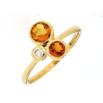Contemporary Citrine & Diamond Bezel Ring