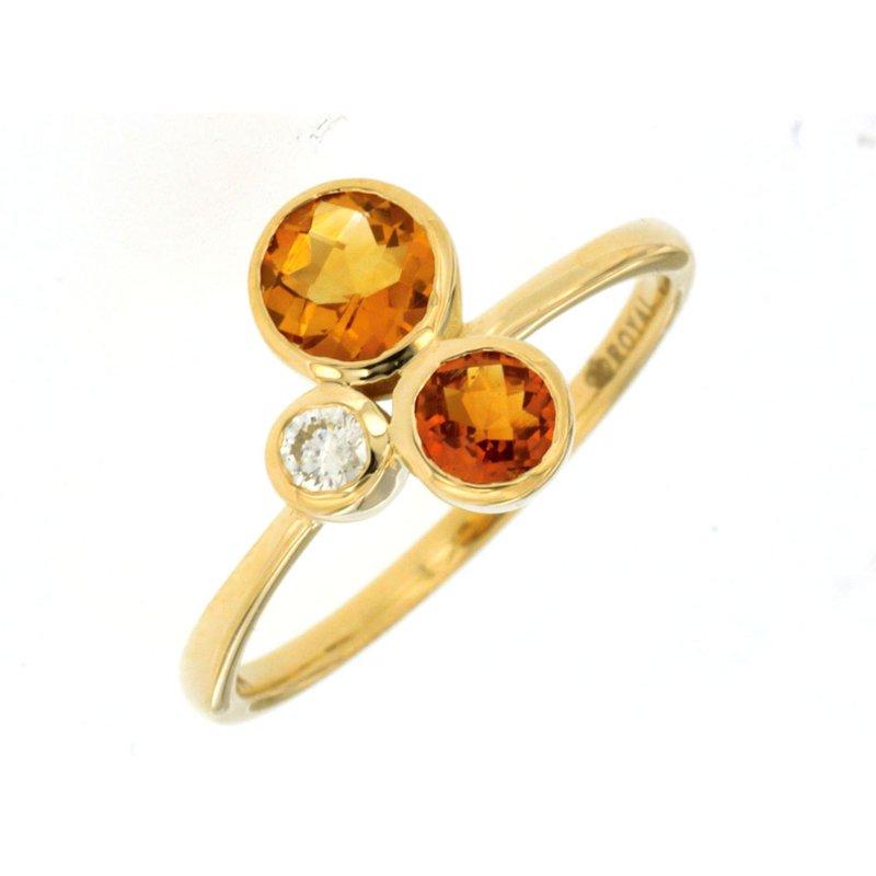 Murphy Pitard Signature Collection Contemporary Citrine & Diamond Bezel Ring
