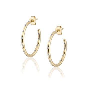 White Zircon Hoop Earrings