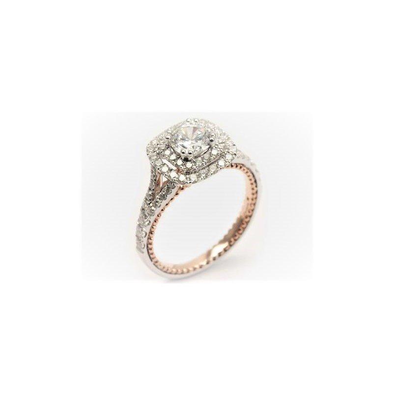 Diadori (Cheri Dori) Two Tone Double Halo Diamond Engagement Ring
