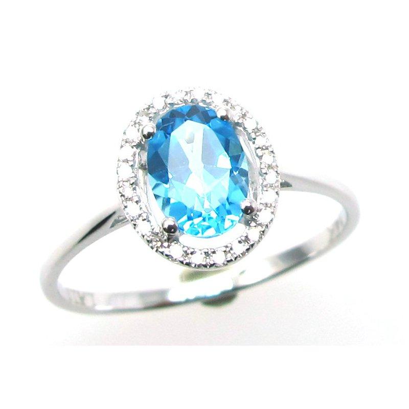 Murphy Pitard Signature Collection Swiss Blue Topaz & Diamond Halo Ring