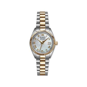 Murphy Pitard 30 Millimeter Two Tone Dress Watch With Mother of Pearl Dial
