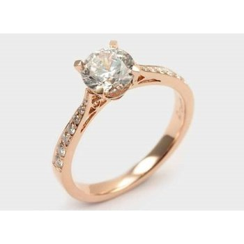Straight Round Diamond Engagement Ring