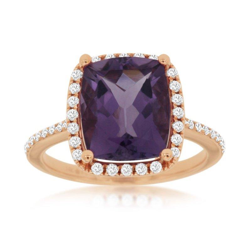 Murphy Pitard Signature Collection Amethyst & Diamond Halo Ring