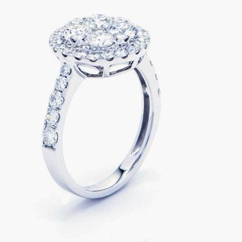 Round Diamond Halo 2 Carat Cluster Accented Ring