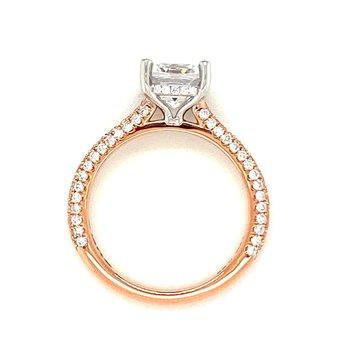 MPJ Exclusive Cushion Center Pavé Diamond Engagement Ring