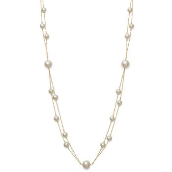 Pearl Double Strand Station Necklace