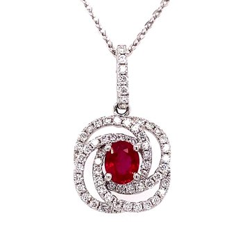 Ruby and Diamond Swirl Pendant