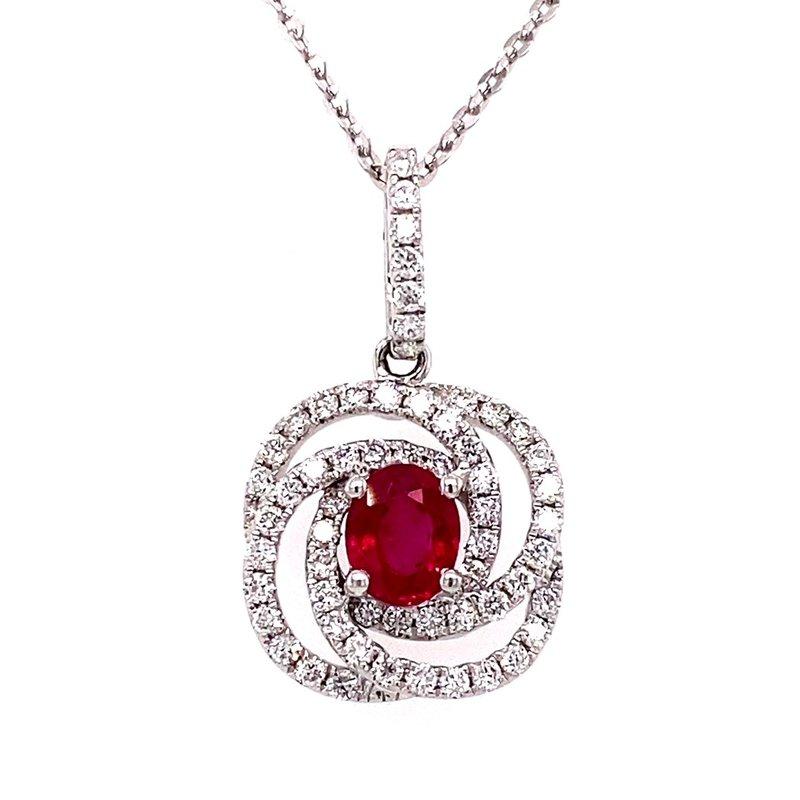 Murphy Pitard Signature Collection Ruby and Diamond Swirl Pendant