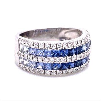 Diamond & Rainbow Blue Sapphire Multi Row Band