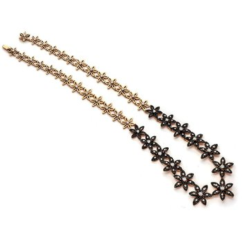 Black Diamond Flower Link Necklace