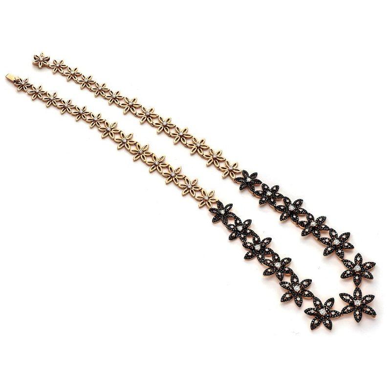 Murphy Pitard Signature Collection Black Diamond Flower Link Necklace