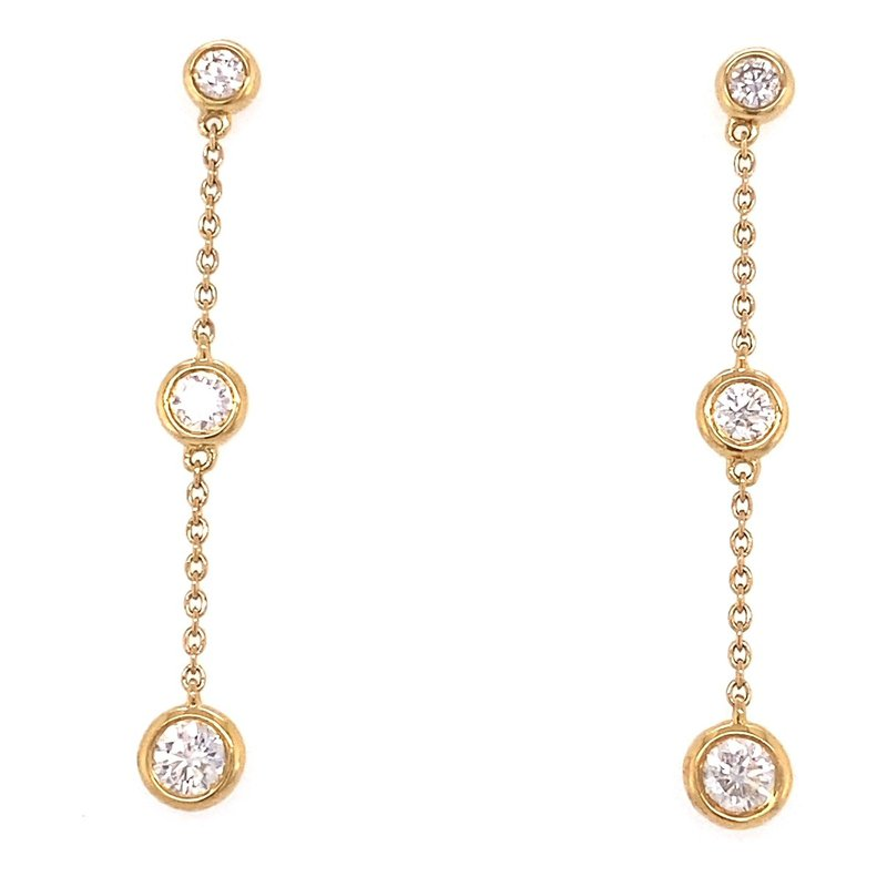 Murphy Pitard Signature Collection Diamond Dangle Bezel Earrings