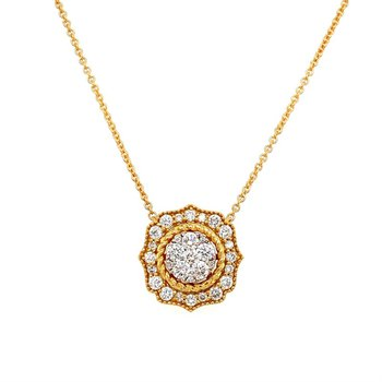 Diamond Cluster Center Halo Pendant Necklace