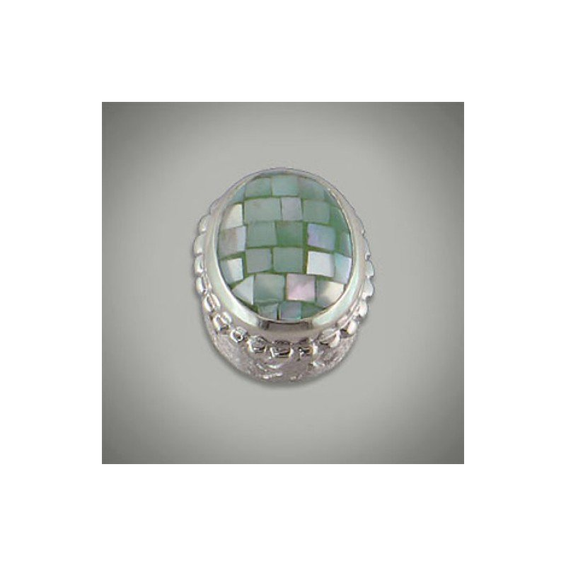 Goldman-Kolber Caerleon Mint Confetti Buff Top Oval Insert Bezel