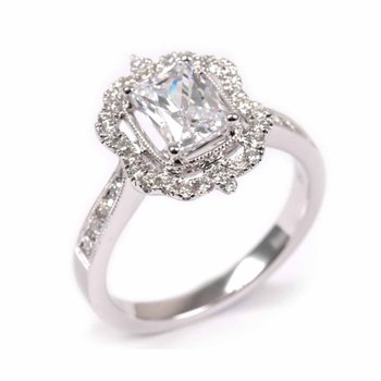 Emerald Vintage Inspired Diamond Halo Engagement Ring