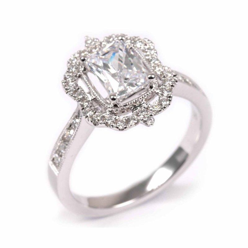 Diadori (Cheri Dori) Emerald Vintage Inspired Diamond Halo Engagement Ring
