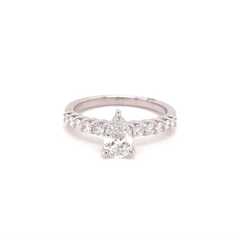 Murphy Pitard Signature Collection Diamond Accented Pear Engagement Ring