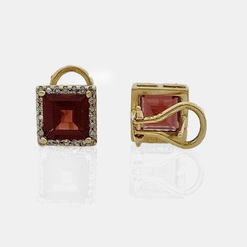 Diamond Halo Square  Garnet Earrings