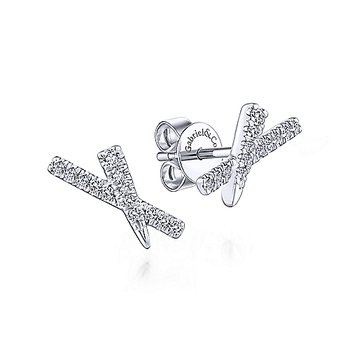 Diamond Stud X Bar Earrings