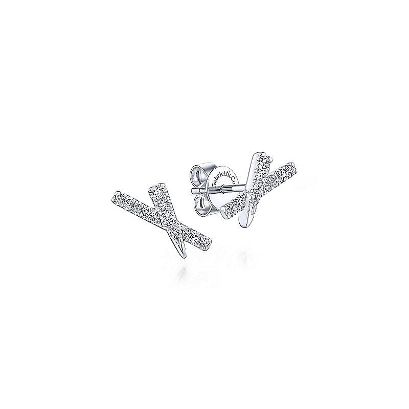 Gabriel & Co. New York Diamond Stud X Bar Earrings