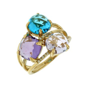 Contemporary Semi Precious Diamond Accented Fashion Ring