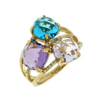 Contemporary Semi Precious Diamond Accented Fashion Ring