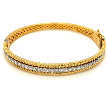 Diamond & Twisted Rope Bangle Bracelet