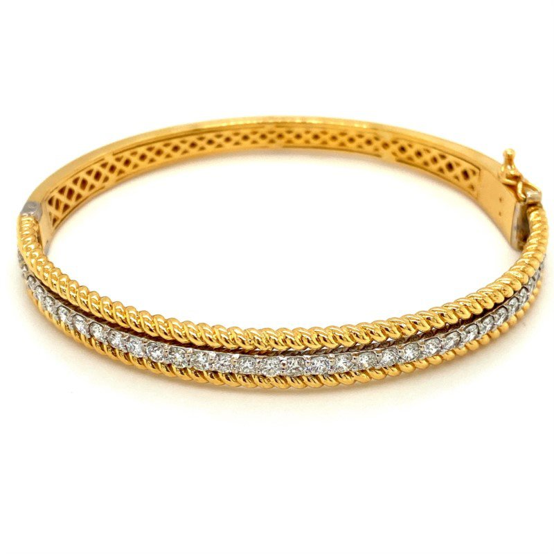 Murphy Pitard Signature Collection Diamond & Twisted Rope Bangle Bracelet