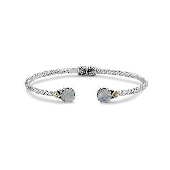 Rainbow Moonstone Twisted Bangle Bracelet