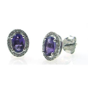 Amethyst & Diamond Halo Stud Earrings