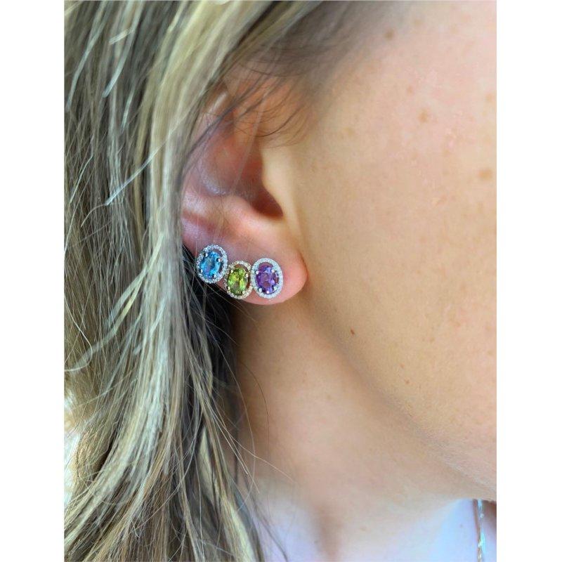 Murphy Pitard Signature Collection Amethyst & Diamond Halo Stud Earrings