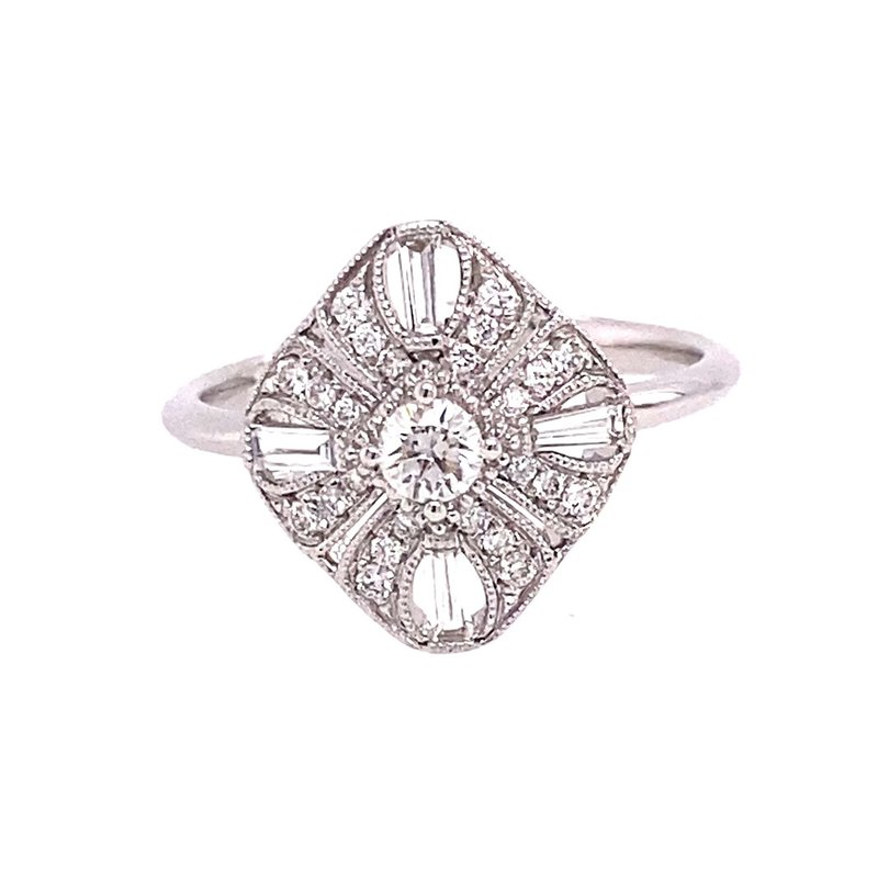 Murphy Pitard Signature Collection Vintage Inspired Diamond Milgrain Fashion Ring