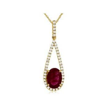 Diamond & Ruby Tear Drop Pendant Necklace