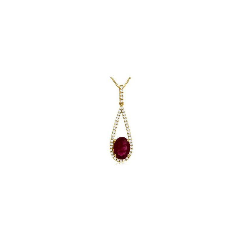 Murphy Pitard Signature Collection Diamond & Ruby Tear Drop Pendant Necklace