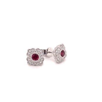Diamond & Ruby Square Vintage Inspired Studs