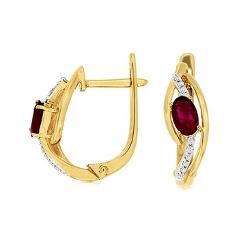 Ruby & Diamond Small Fashion Hoop Earrings