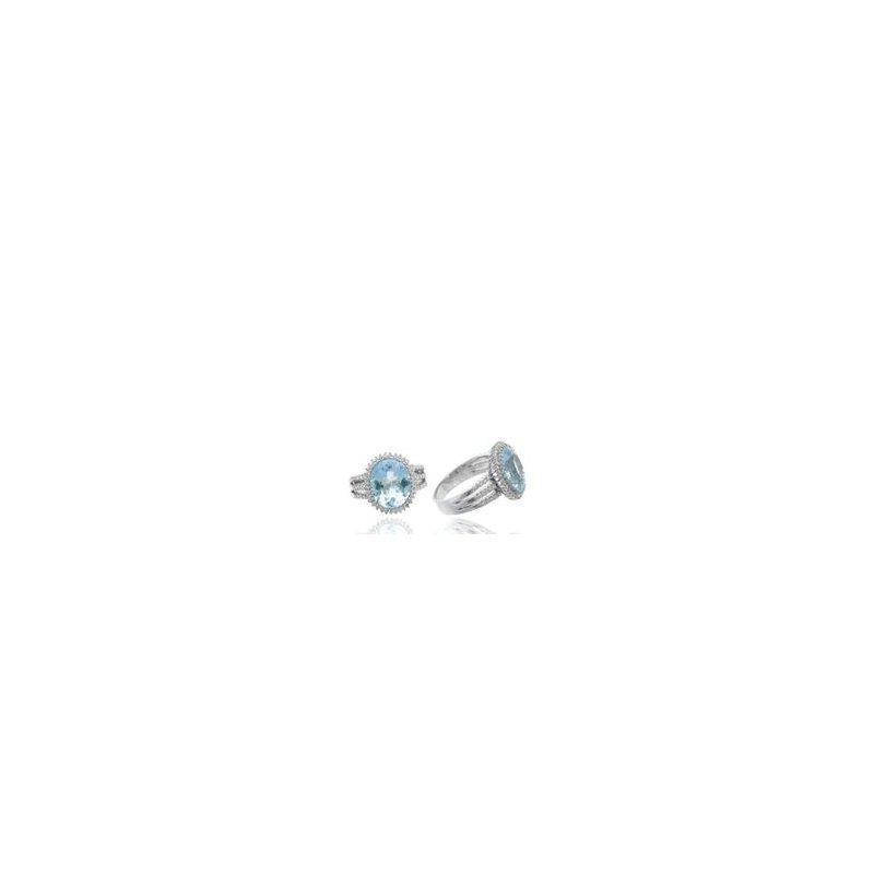 Murphy Pitard Signature Collection Aquamarine Diamond Halo Split Band Ring
