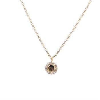 Diamond Halo & Polish Pendant Necklace