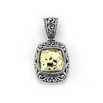 Silver Hammered Gold Pendant