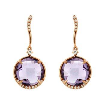 Amethyst & Diamond Dangle Fashion Earings