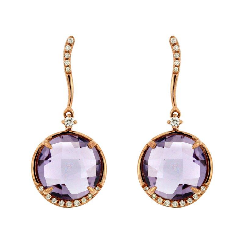 Murphy Pitard Signature Collection Amethyst & Diamond Dangle Fashion Earings