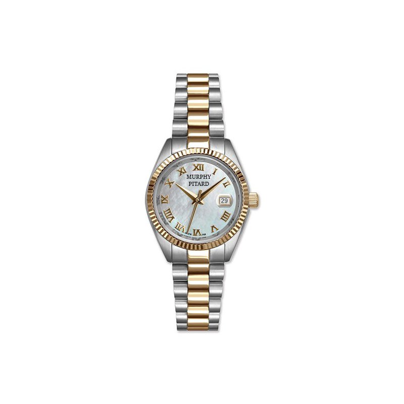 Murphy Pitard Signature Collection Murphy Pitard 30 Millimeter Two Tone Dress Watch With Mother of Pearl Dial